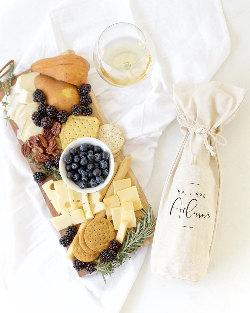 Personalized Mr and Mrs Wine Bag Bridal Shower Gift