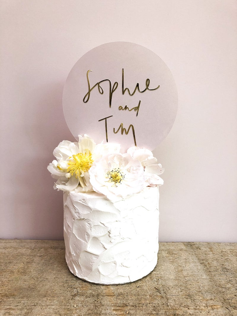 Personalized Names Modern Circle Cake Topper