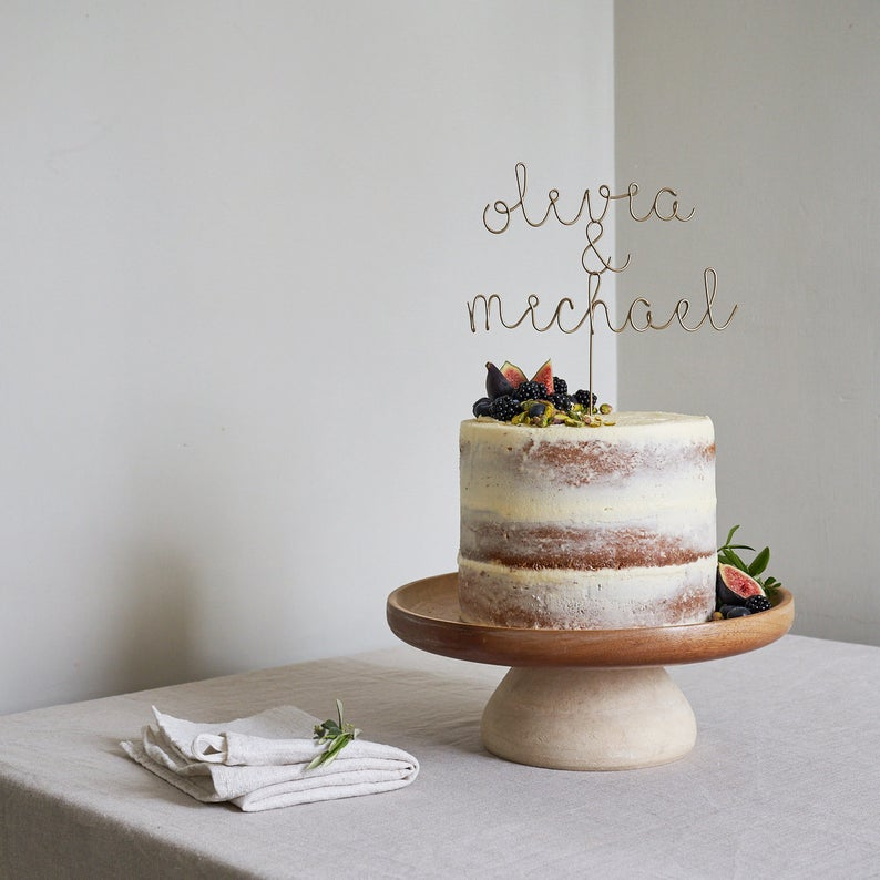 personalized names wedding cake topper