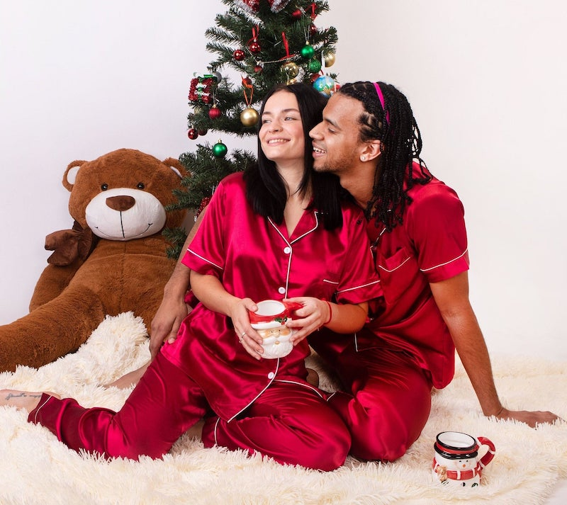 Personalized Satin Matching Pajamas for Couple