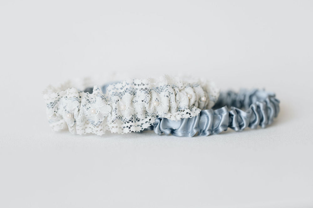 lace and pearl wedding garter set handmade and personalized by The Garter Girl