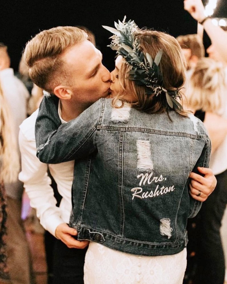 personalized textured wedding bridal denim jean jacket