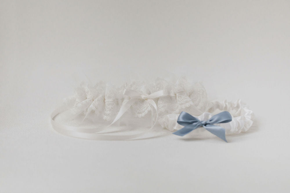 personalized wedding garter set handmade with tulle, lace and something blue by The Garter Girl