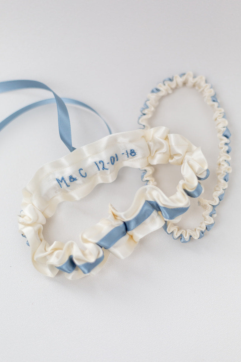 custom wedding garter set personalized with wedding date and initials