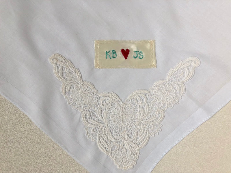 Wedding Handkerchief: Personalized with Embroidery and Lace