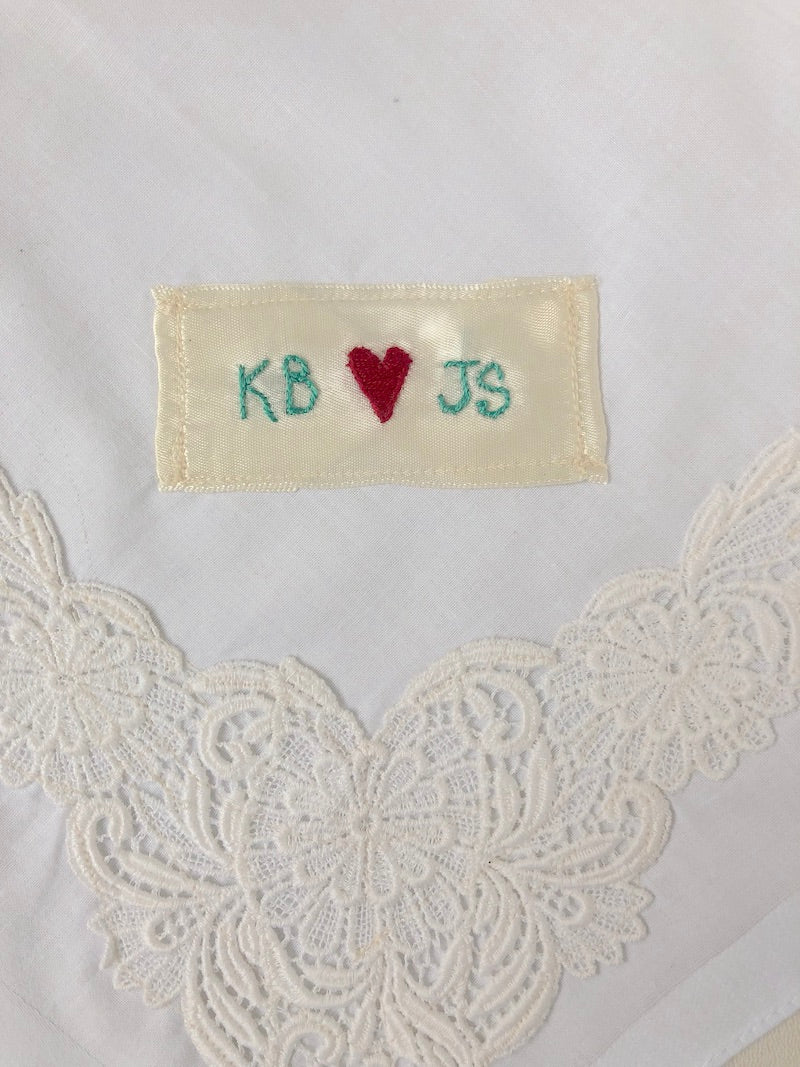 personalized wedding handkerchief with lace and embroidery