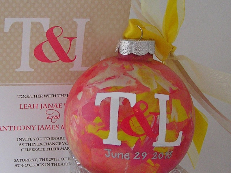 Personalized Wedding Invitation Ornament Painted
