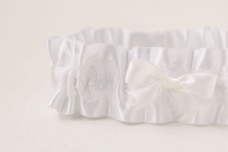white satin and lace wedding garter handmade from baby bonnet by The Garter Girl