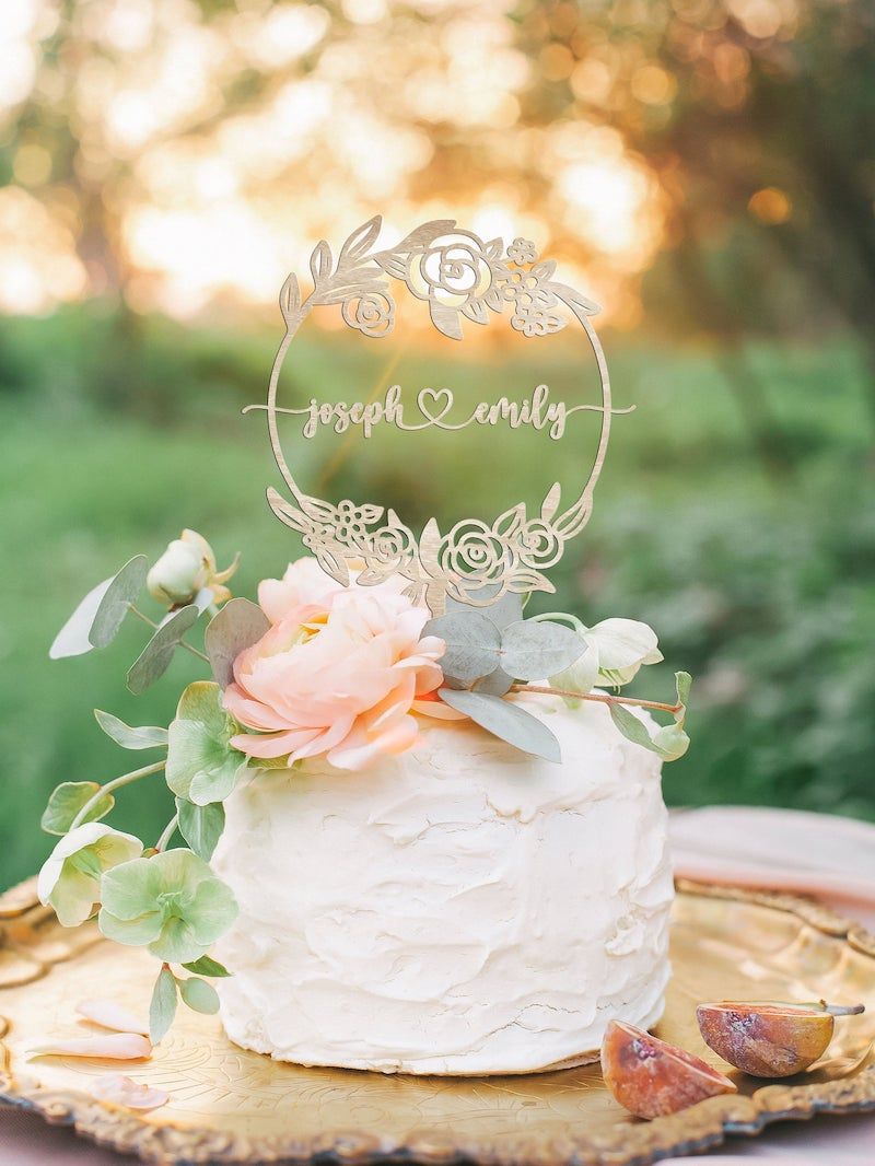 Personalized Wood Floral Design Wedding Cake Topper