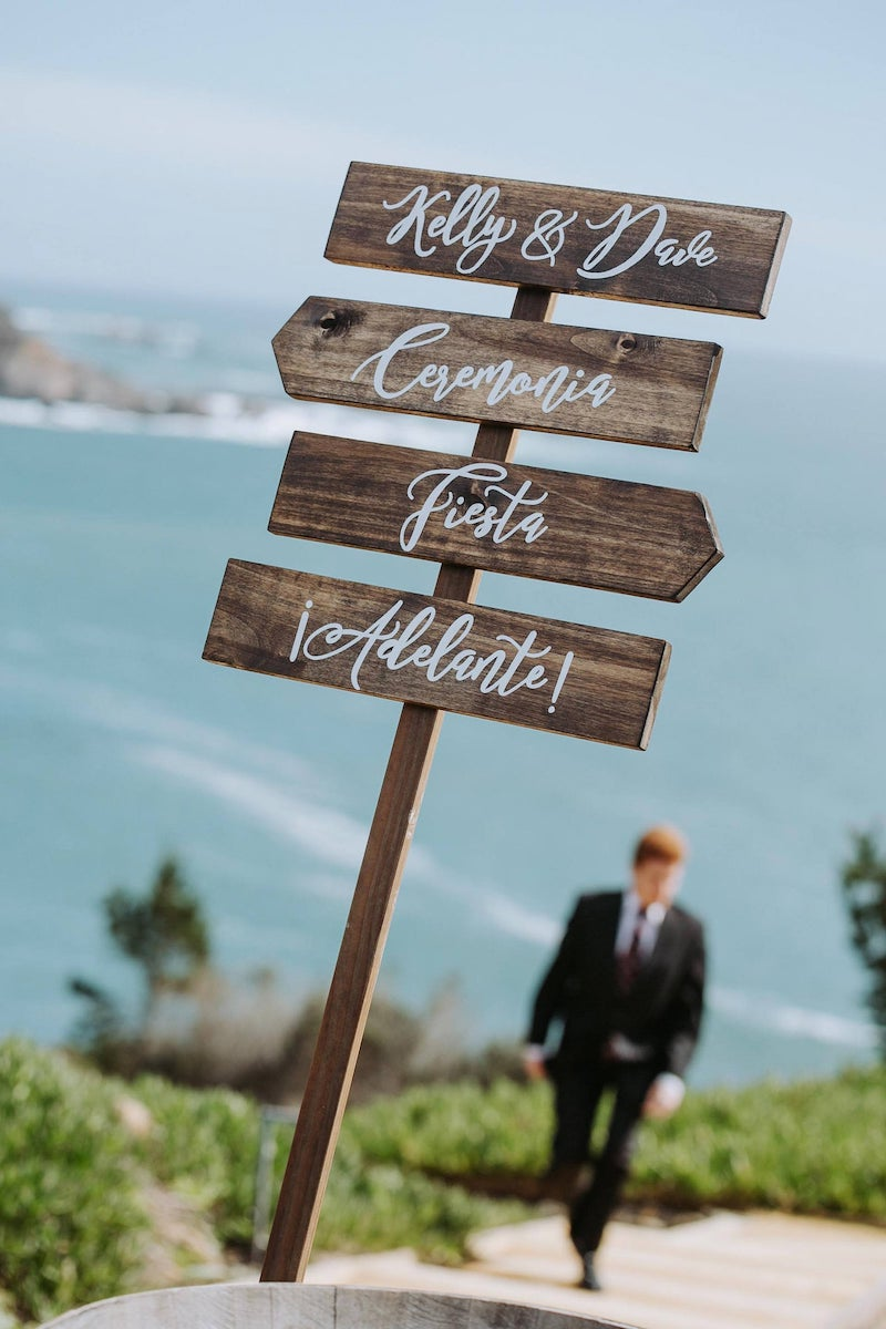 Personalized Wood Wedding Directional Signs