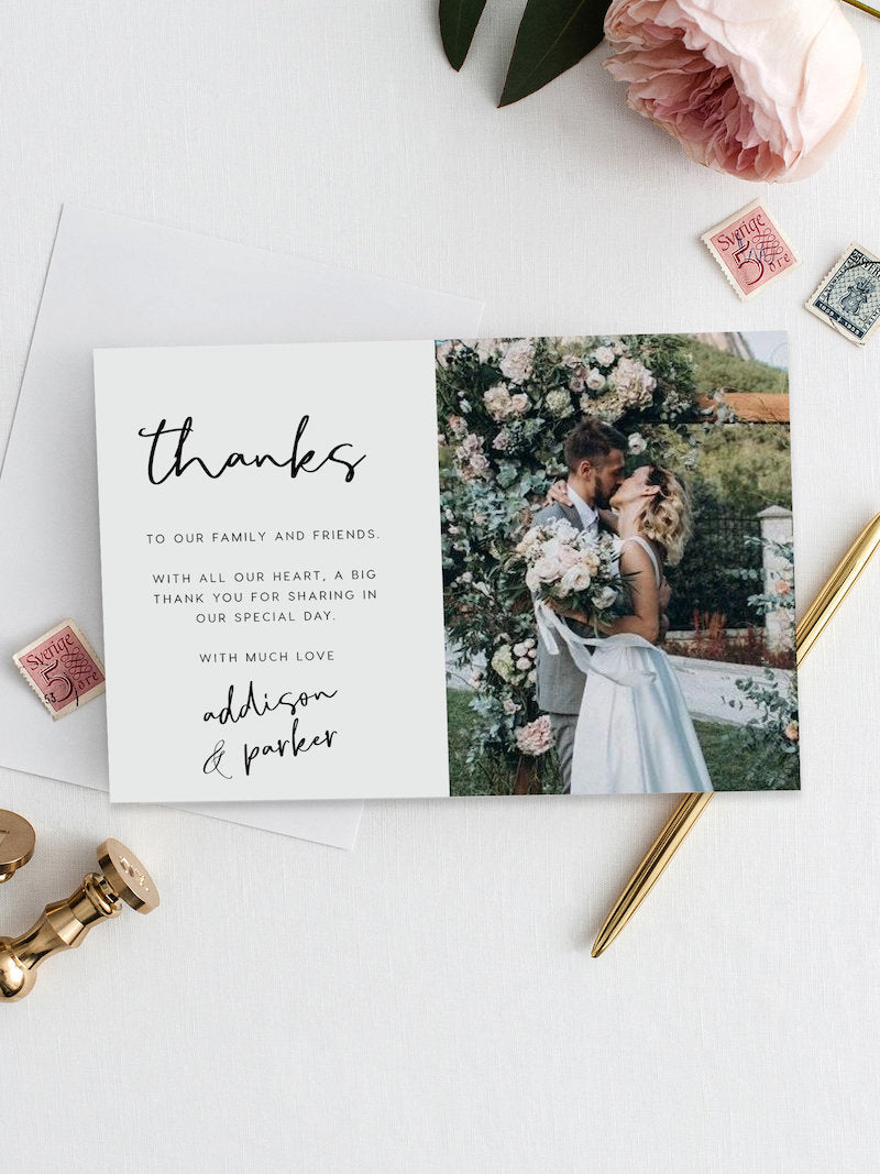 Photo Thank You Note Wedding Thank You Card