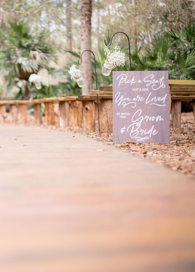 Pick a Seat Not a Side Outdoor Wedding Signs