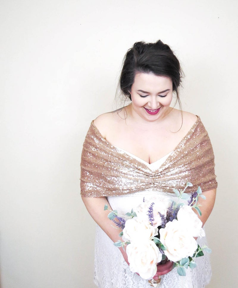 Plus Size Sequin Wedding Shawl