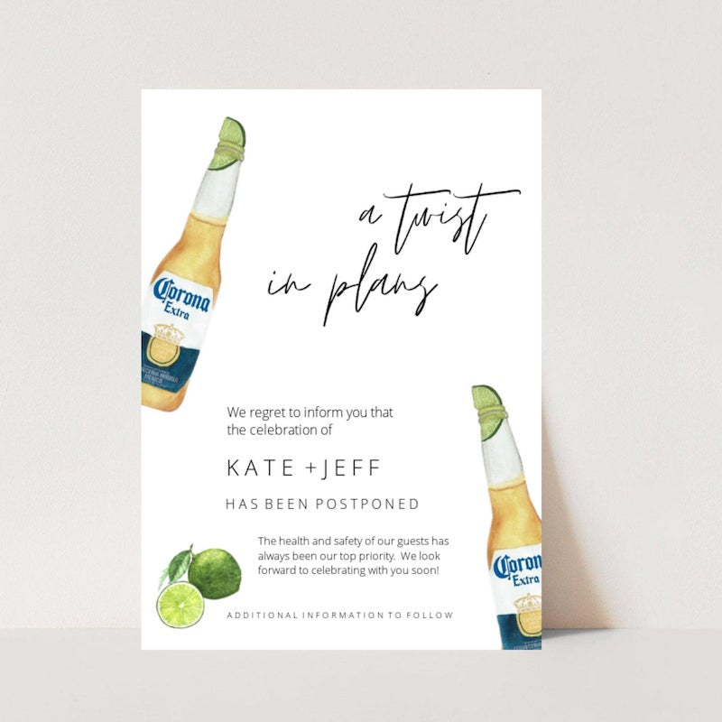 Change In Plans Wedding Card Twist in Plans