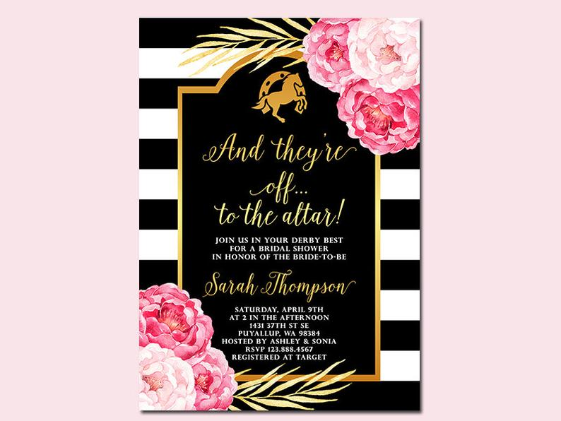 Preppy Kentucky Derby themed bridal shower invitation