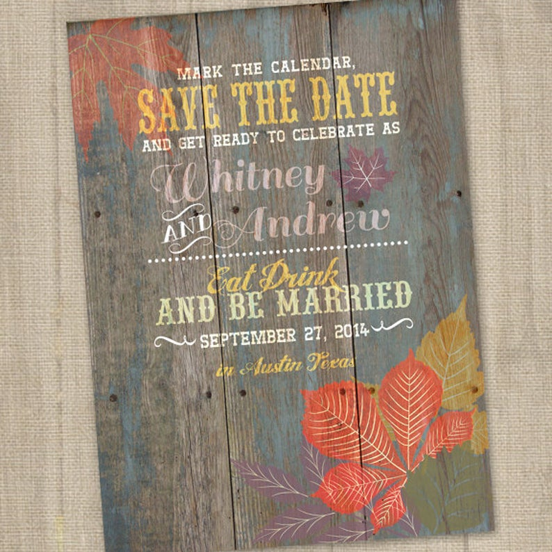 Fall Leave Wedding Save The Date