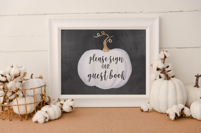 Printable Pumpkin Wedding Guest Book Sign