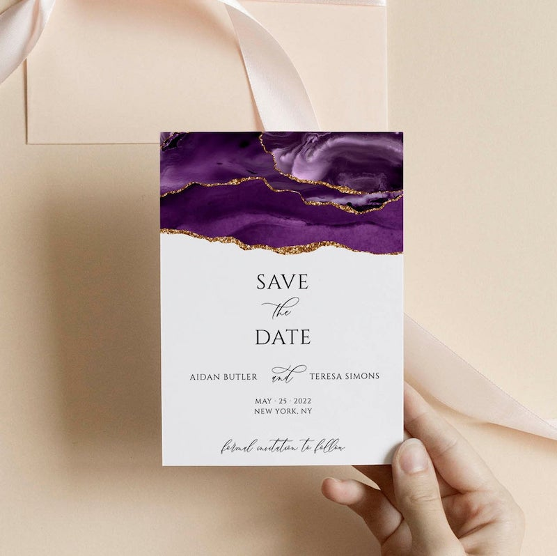 Purple and Gold Save the Date