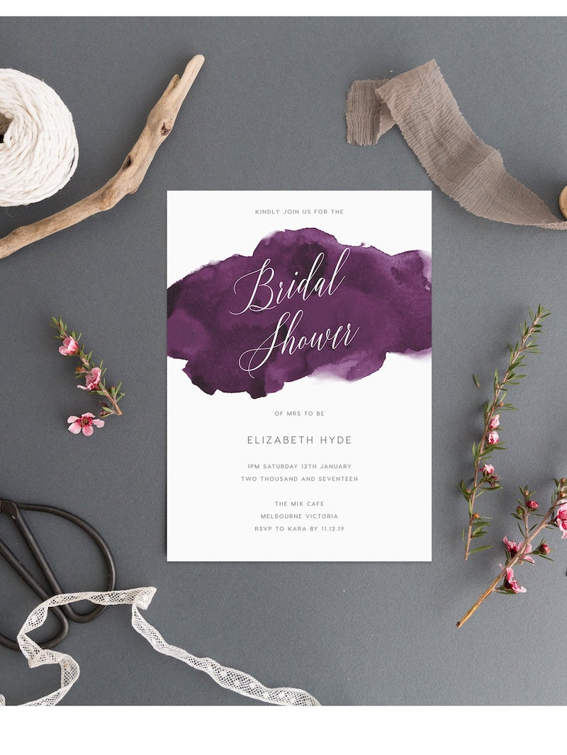 Purple Watercolor Bridal Shower Invitation