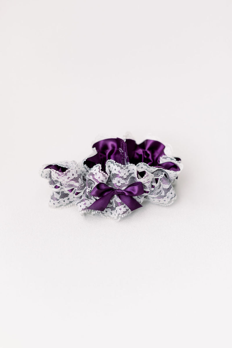 purple wedding garter with ivory lace from The Garter Girl