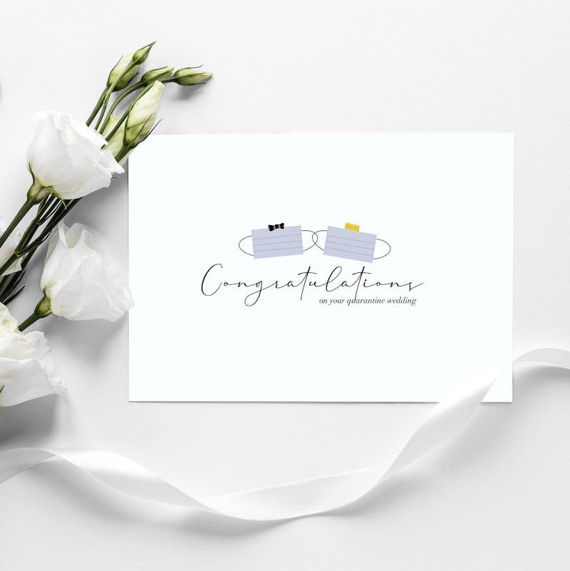Quarantine Masks Congratulations Wedding Card