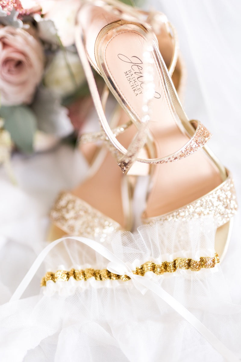 real tulle and gold wedding garter - Florida wedding