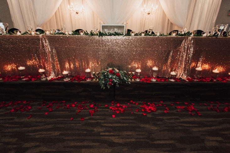 gold and red candle lit wedding reception