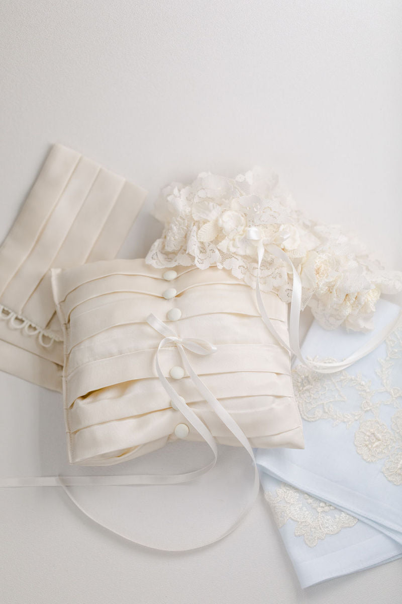 wedding heirlooms garter, handkerchief and ring pillow handmade from bride's mother's wedding dress and veil