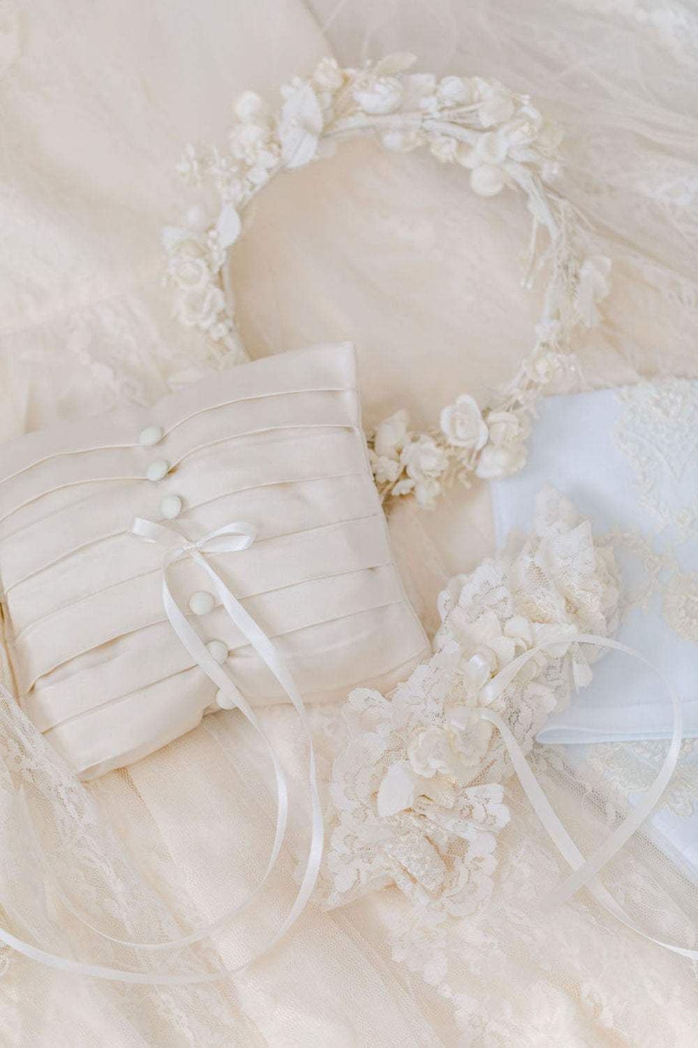 custom wedding garter heirloom and ring pillow made from mother's wedding dress by The Garter Girl