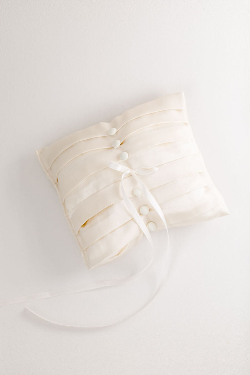 wedding heirlooms ring pillow handmade from bride's mother's wedding dress and veil