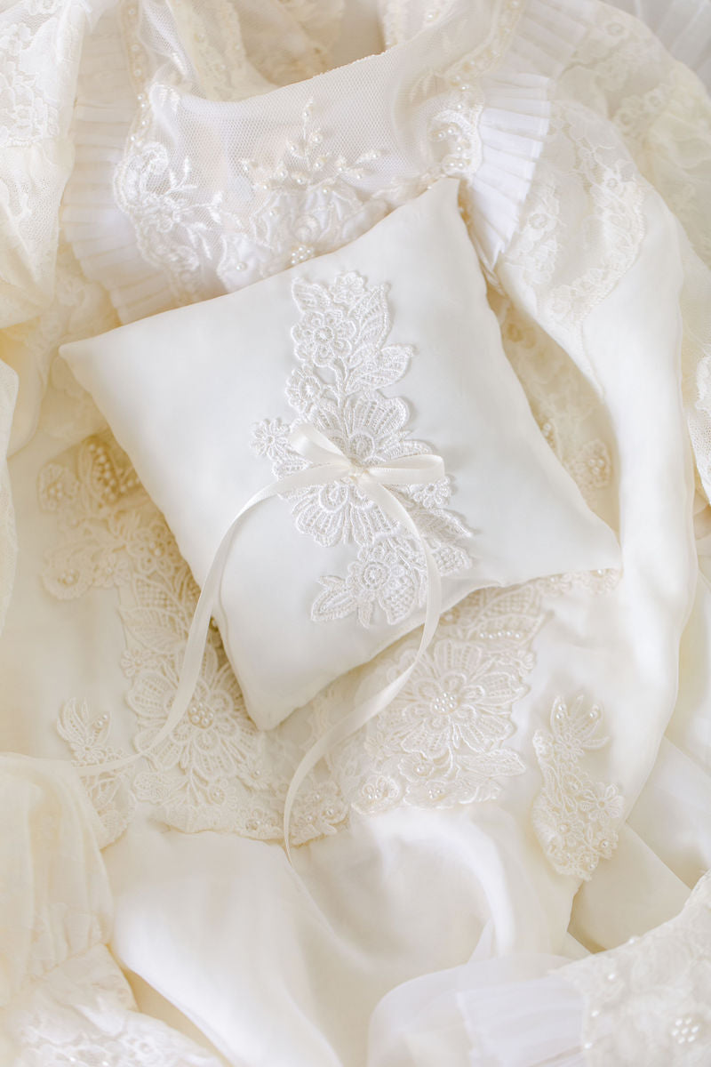 ring pillow made from lace vintage wedding dress by The Garter Girl