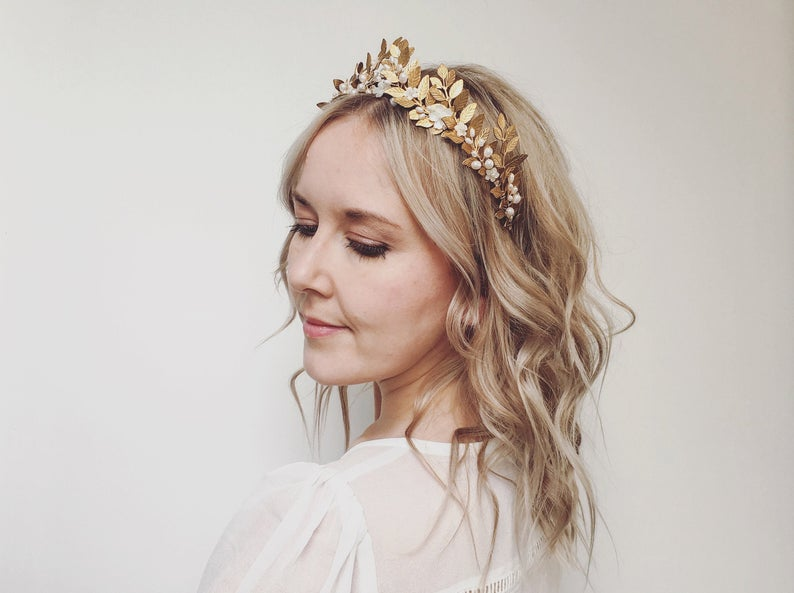 Romantic Gold Leaf Bridal Headband