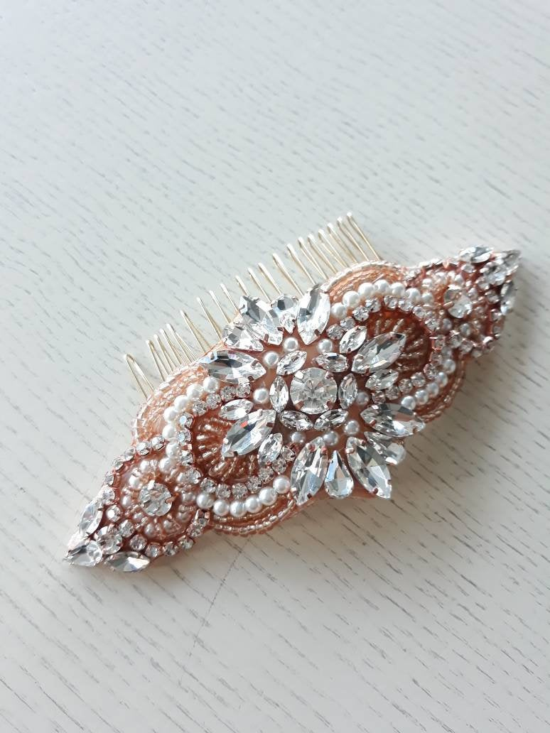 Rose Gold Art Deco Bridal Comb