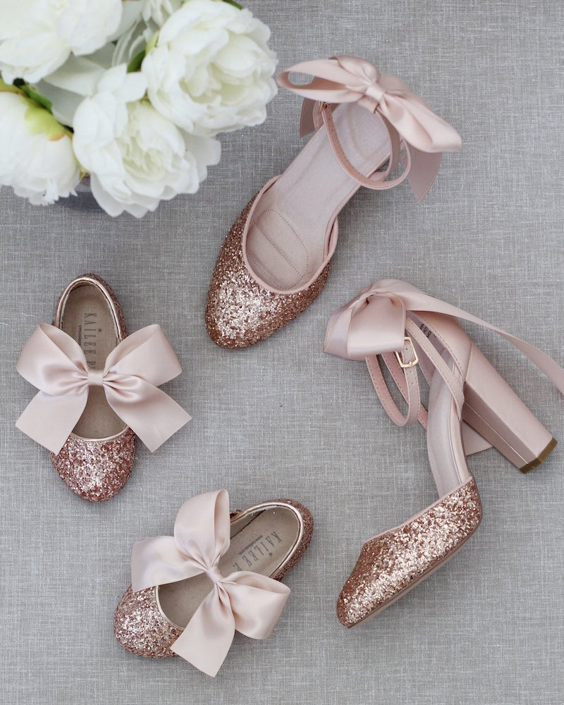 Rose Gold Block Heel Bridal Shoe