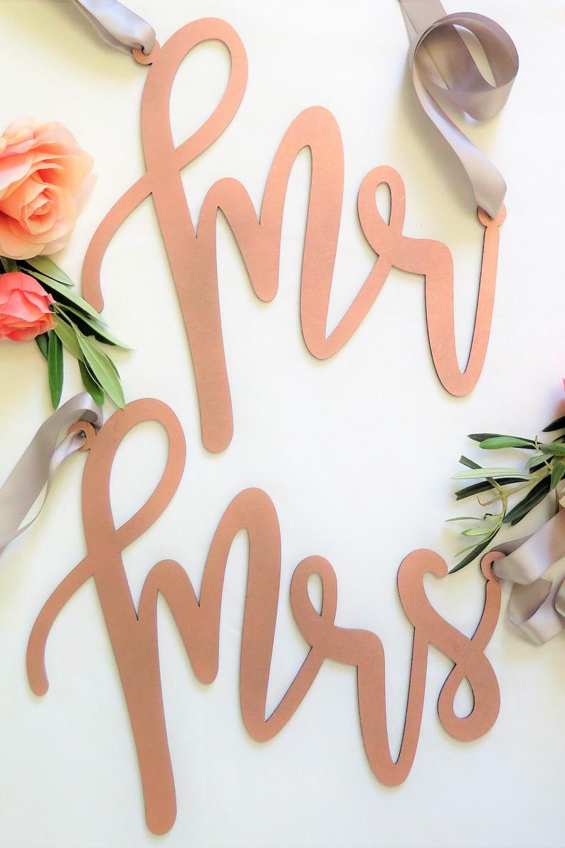 Rose Gold Mr and Mrs Chair Back Signs