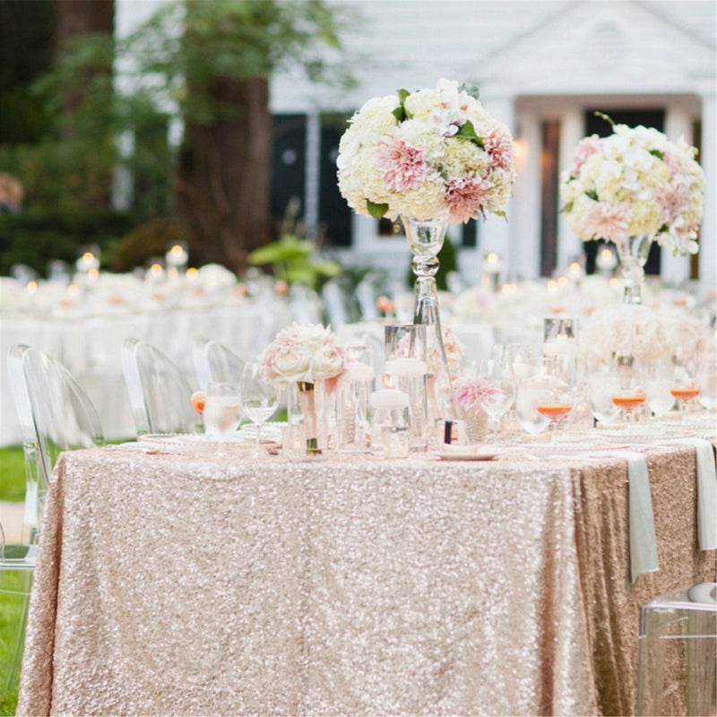 Rose Gold Glitter Sequin Tablecloth