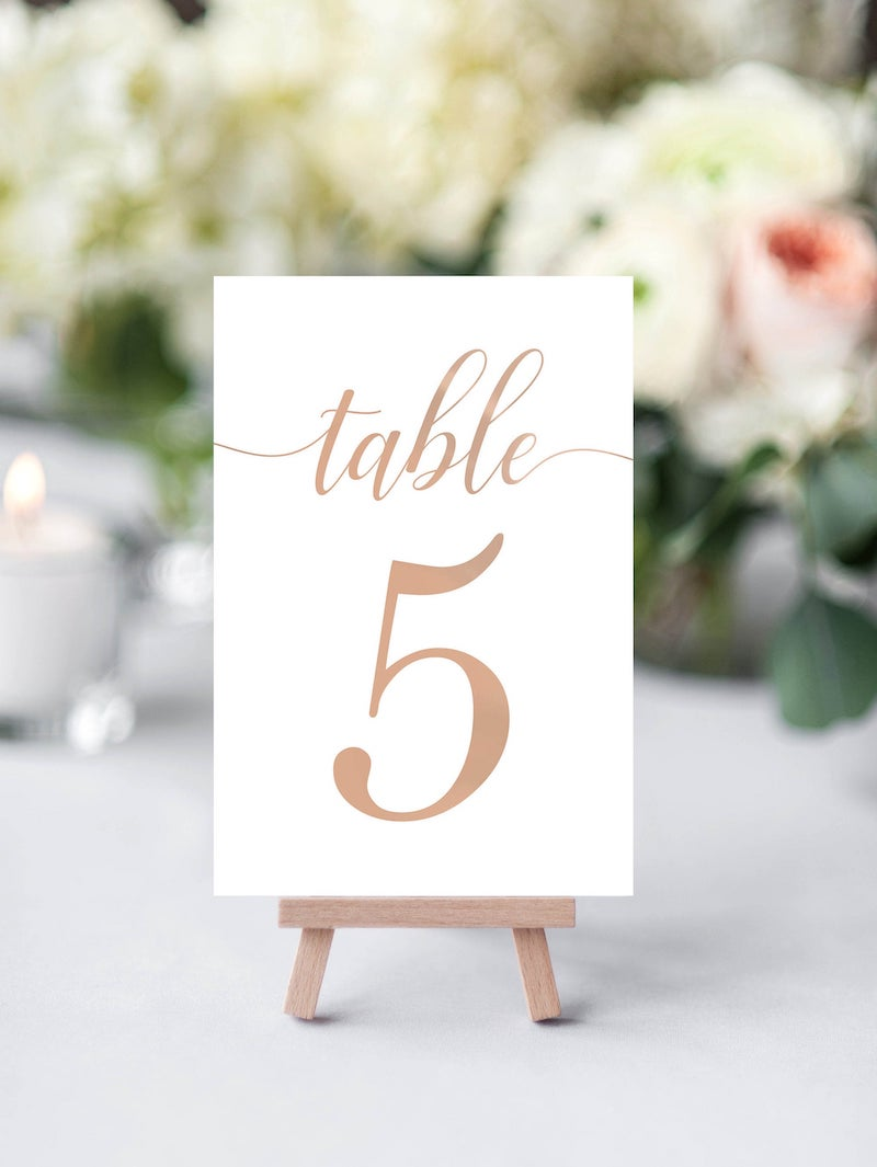 Rose Gold Wedding Table Number