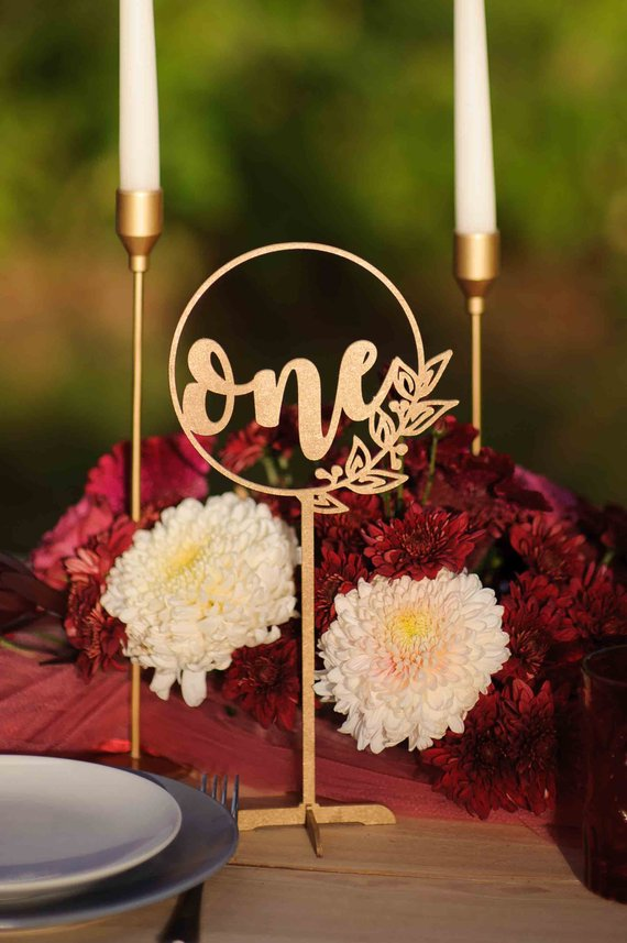rustic gold wood wedding day table number sign