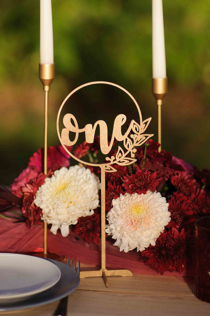 Rustic Gold Wood Wedding Table Number Sign