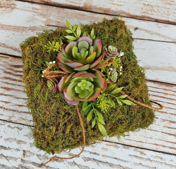 rustic moss floral wedding ring bearer pillow