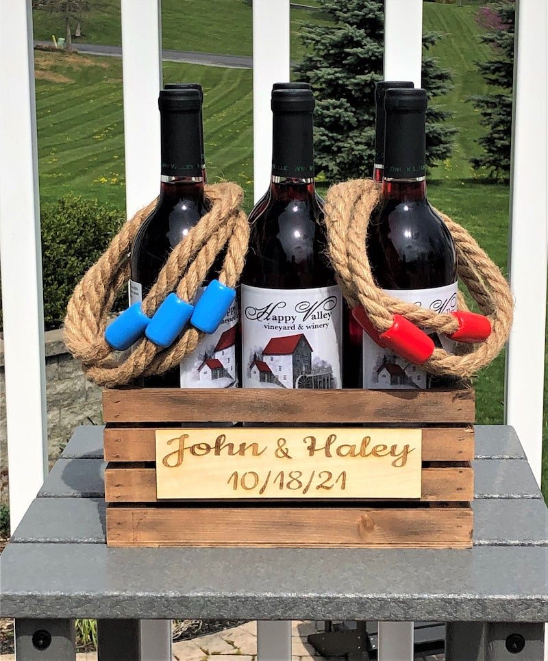 Rustic Ring Toss Wine Bottle Lawn Game for Wedding