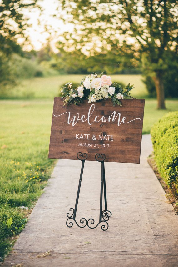 rustic wood wedding welcome sign