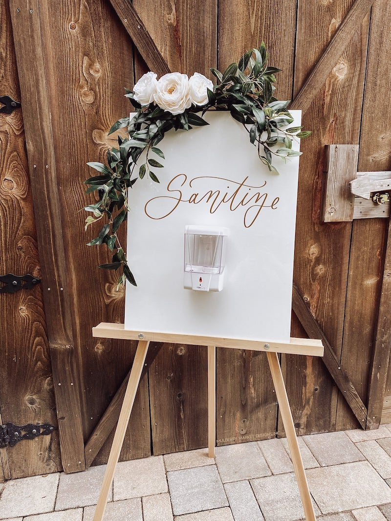 Sanitizing Station with Dispenser for Covid Wedding