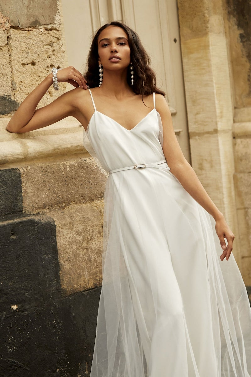 Satin Bridal Jumpsuit with Thin Straps