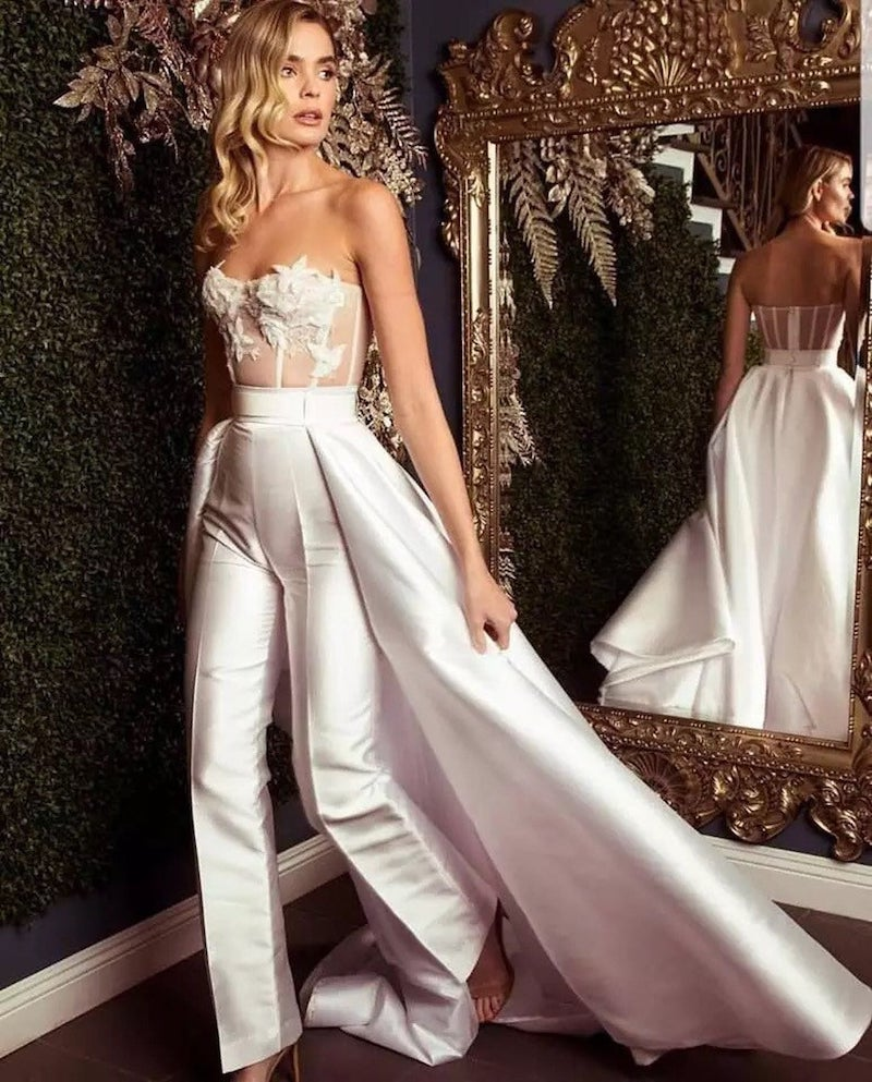 Satin Wedding Jumpsuit with Detachable Train