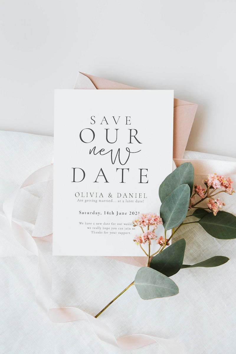 Save Our New Date Cards Postponed Wedding