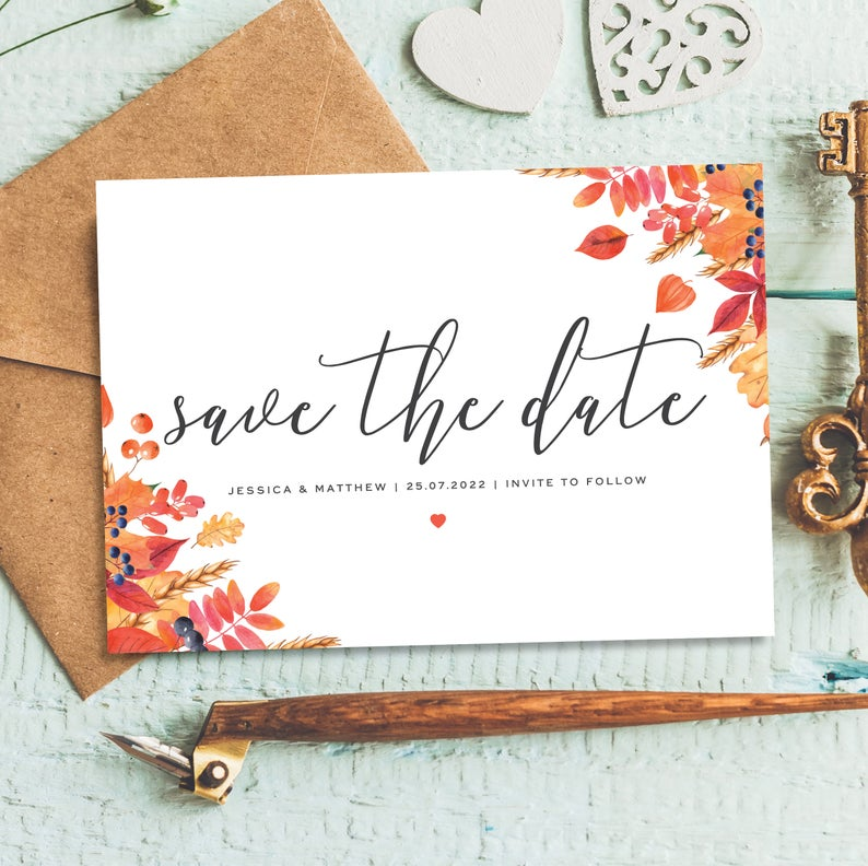 Save The Dates For Fall Weddings