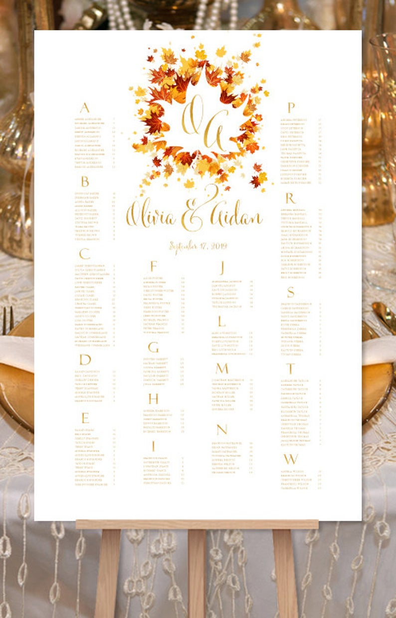 Fall Themed Wedding Seating Chart