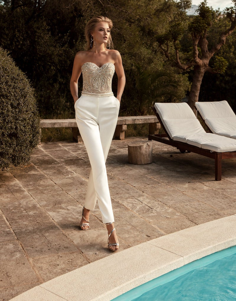Separate Bridal Jumpsuit with Pants and Beaded Corset Top
