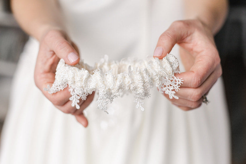shimmer lace custom wedding garter